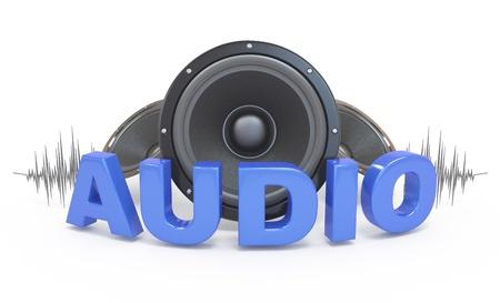 오디오: 오디오 개념 아이콘. 스피커와 3D 단어. 화이트. 스톡 사진