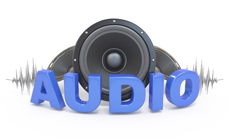audio: Audio concept icon.  3d word with speakers. On white. Stock Photo