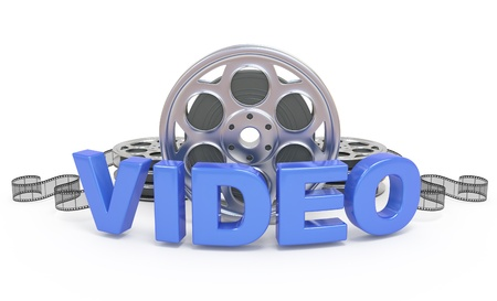 playback: Video concept icon.  3d word with film reels and strip. On white.