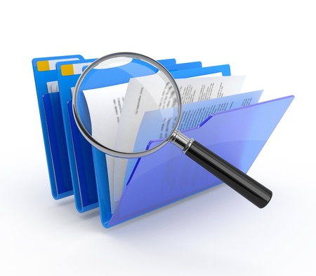scanned: Magnifying glass over the blue folders. Files investigation.