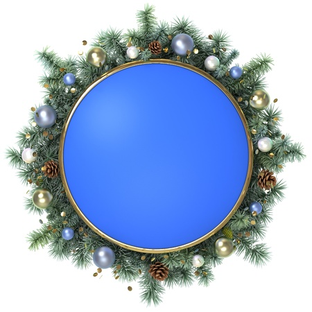 December blue frame with a christmas tree branches. Stock Photo - 14893786