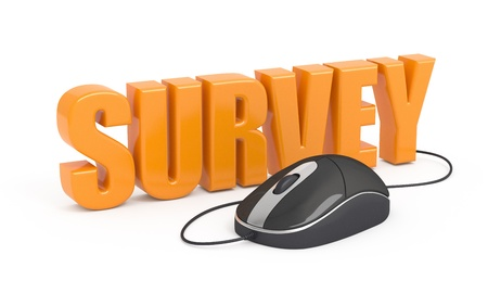 online survey: Survey word and computer mouse. 3d illustration.