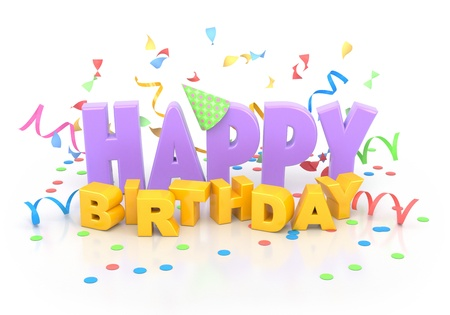 3d text: Happy birthday words with decorations on white