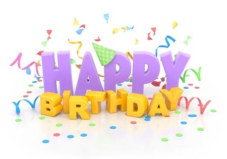compleanno: Parole di buon compleanno con decorazioni su bianco