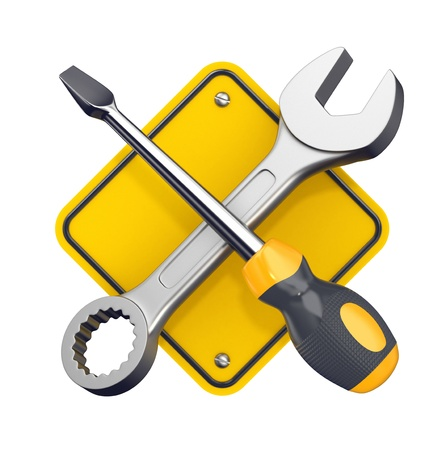 Spanner and screwdriver  Tools sign isolated on white  3d illustration