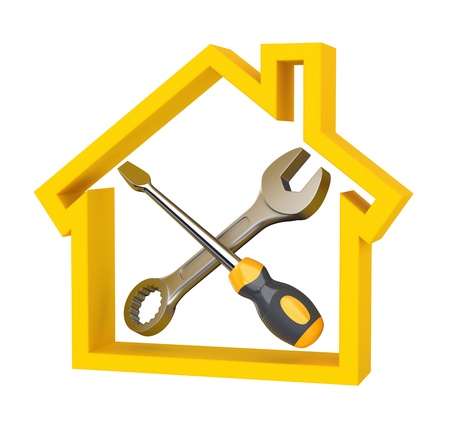 Spanner and screwdriver in a house sign. House service. Concept illustration.  Stok Fotoğraf