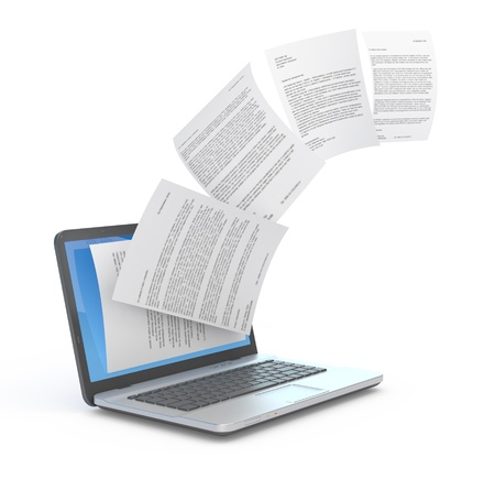 file sharing: Uploading documents from laptop. 3d illustration.  Stock Photo