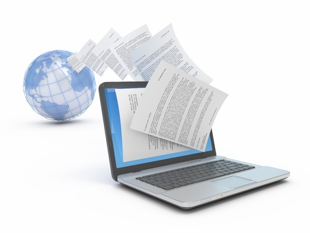 Transfer of files on the laptop.Reception of files on the laptop. Сonceptual 3d illustration.