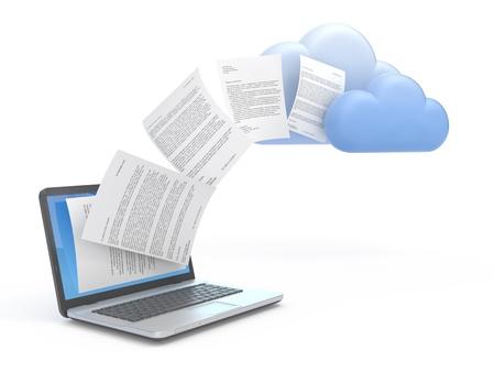 bulut: Bir bulut ağ sunucusuna bilgi veya veri aktarma. Stok Fotoğraf