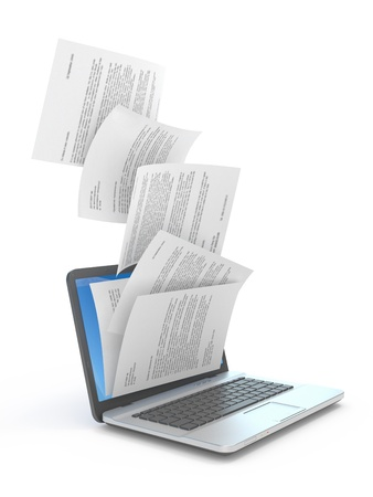 Downloading dcuments in laptop  3d illustration Stok Fotoğraf - 16145987