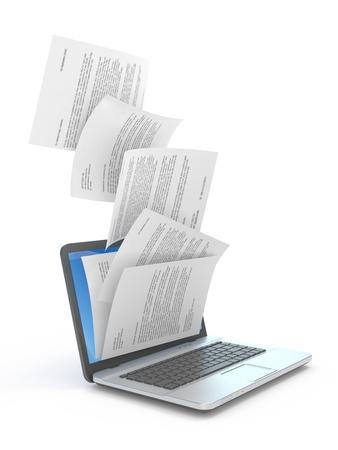 Downloading dcuments in laptop  3d illustration