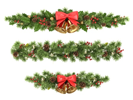 christmas tree illustration: Christmas borders from the decorated  fir tree branches.