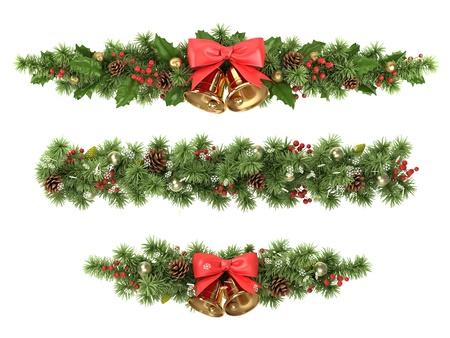 campanas navidad: Navidad linda de las ramas del �rbol de abeto adornado.
