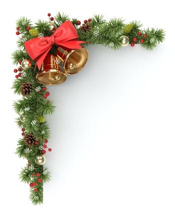 campanas de navidad: Navidad esquina de las ramas del árbol de abeto adornado. Foto de archivo