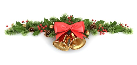 campanas: Frontera de ramas de �rboles de Navidad decorados y el acebo.