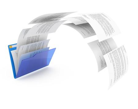 uploading: Uploading documents from blue folder. 3d illustration.