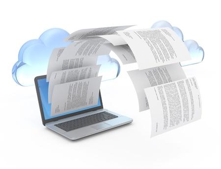 webhost: Files from laptop. 3d illustration.