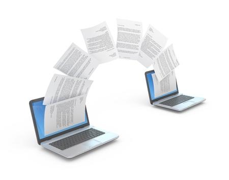 translate: Transferencia de archivos entre los ordenadores port�tiles. Ilustraci�n 3D. Foto de archivo