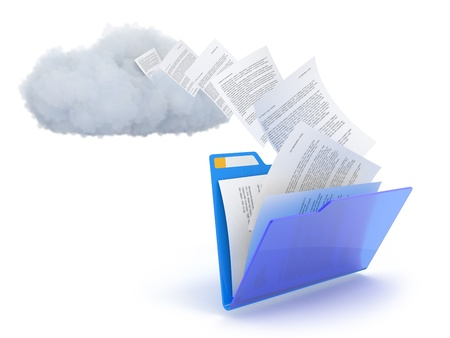 Blue folder with cloud and documents over white.