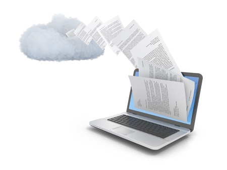 Laptop computer with cloud and documents over white.