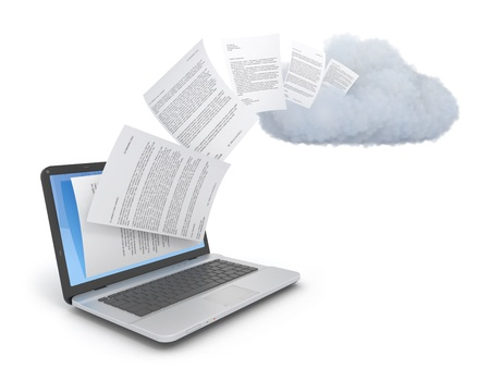 backups: Transferring documents or data to a cloud network server. Stock Photo