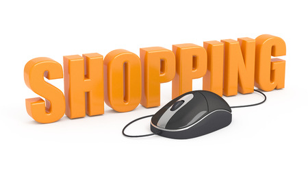 Shopping word with a computer mouse on white background. photo