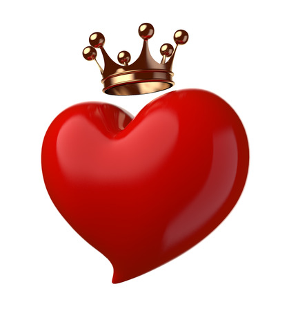 crowned: Heart with crown isolated on white. Stock Photo
