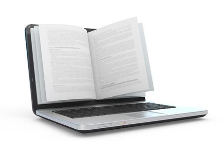 Ordinateur portable avec des pages de livre isolé sur blanc. Banque d'images