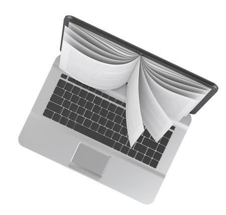 Ordinateur portable avec des pages de livre isolé sur fond blanc.