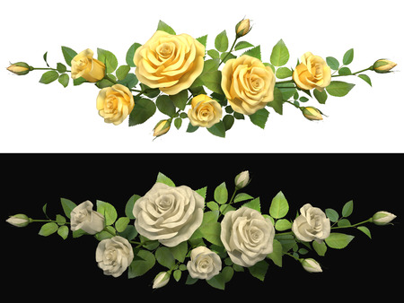 horisontal: Horisontal border with roses branches on isolated background  3d illustration