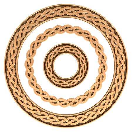 nudos: Conjunto del ornamento del marco Celtic aislado en blanco Foto de archivo