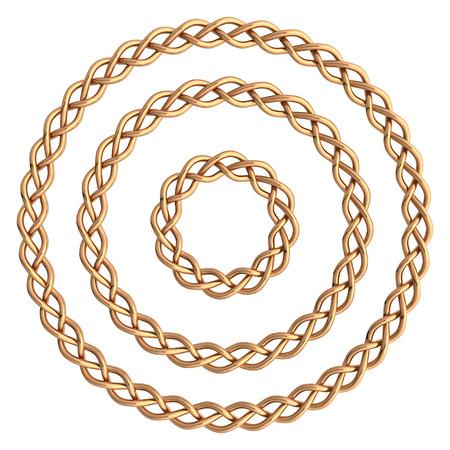 roundish: Circle golden frame isolated on white. Stock Photo