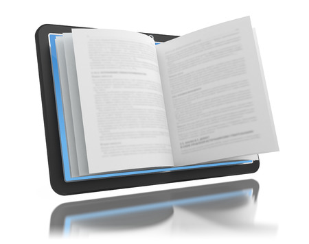 electronic book: Electronic book. E-reading. E-learning. Tablet with book pages isolated on white.