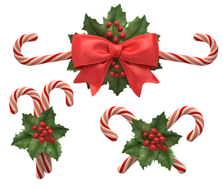 christmas  ornament: Decorations from cristmas candys with ribbon and holly berry. Stock Photo