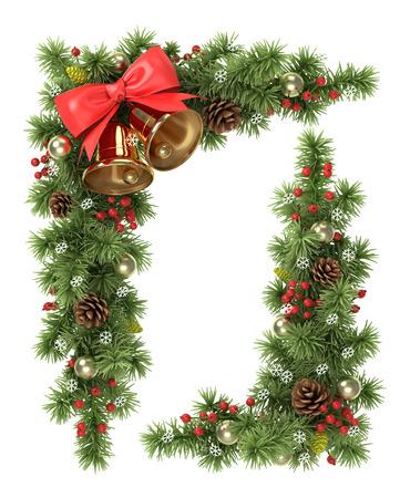 campanas: Esquinas de Navidad desde las ramas de los árboles de abeto decorado.
