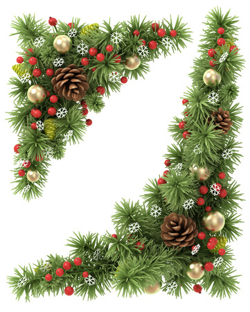 garland border: Christmas corners set from the decorated fir tree branches. Stock Photo