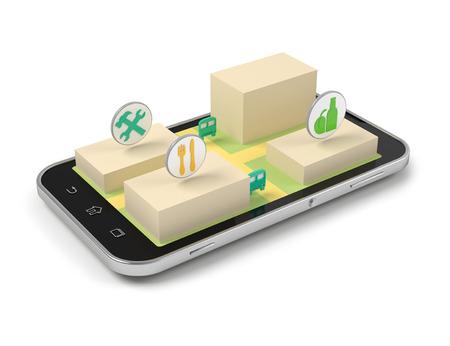 Smart phone mobile map and navigation 3d illustration. illustration