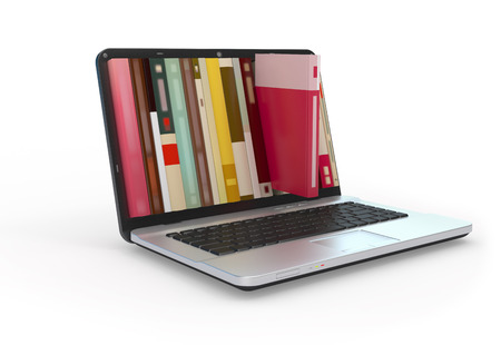 Digital library e-books in laptop computer.