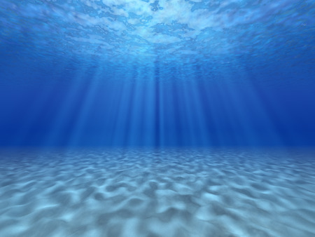 The sun's rays underwater. Underwater background. Banque d'images