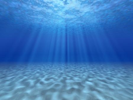 Stralen van de zon onder water. Onderwater achtergrond.