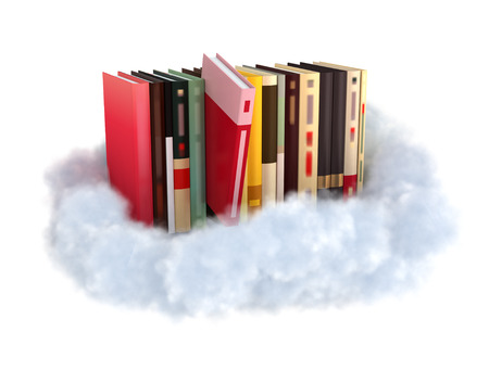stockphoto: Books on a cloud stockphoto cloud technology concept. Stock Photo