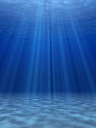 水中の青い海で太陽の光。