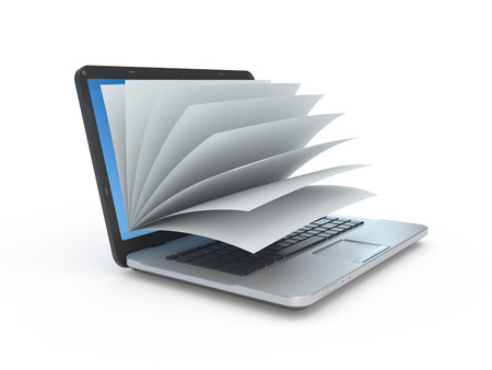 e magazine: Stock photo laptop screen as a notepad or book  on white background.
