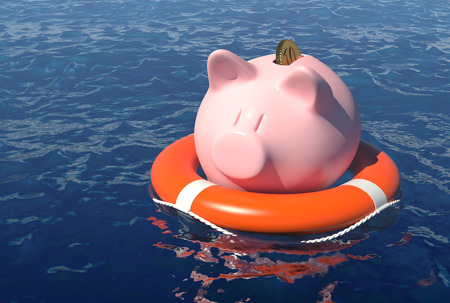 Money savings rescue concept.