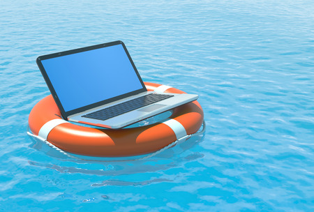 floating on water: Laptop pc software rescue concept illustration. Stock Photo