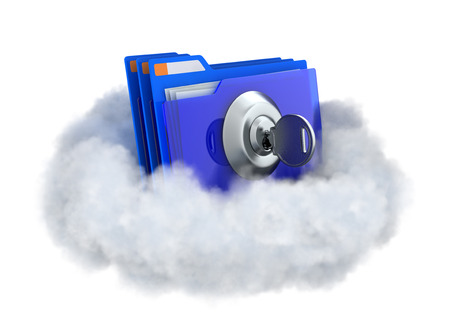 data protection: Locked folder in a cloud isolated on white. Cloud computing illustration.