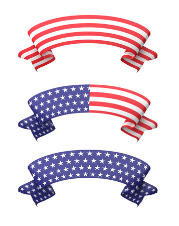 blue stars: Star striped ribbon banners isolated on white.