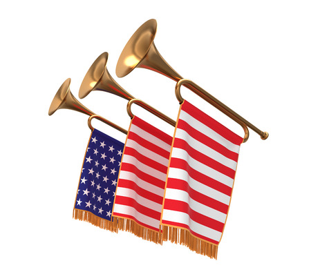 fanfare: Three trumpets with a flags banners isolated on white.