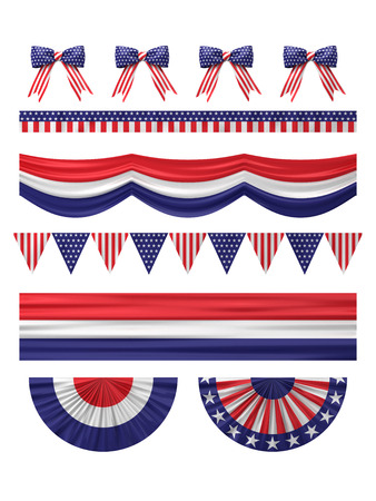 usa patriotic: USA  independence day decoration borders set isolated on white. Stock Photo