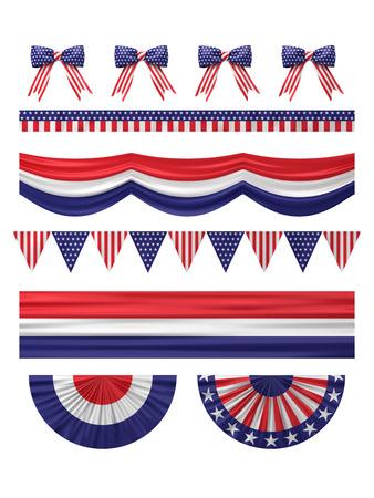 USA  independence day decoration borders set isolated on white. Stockfoto